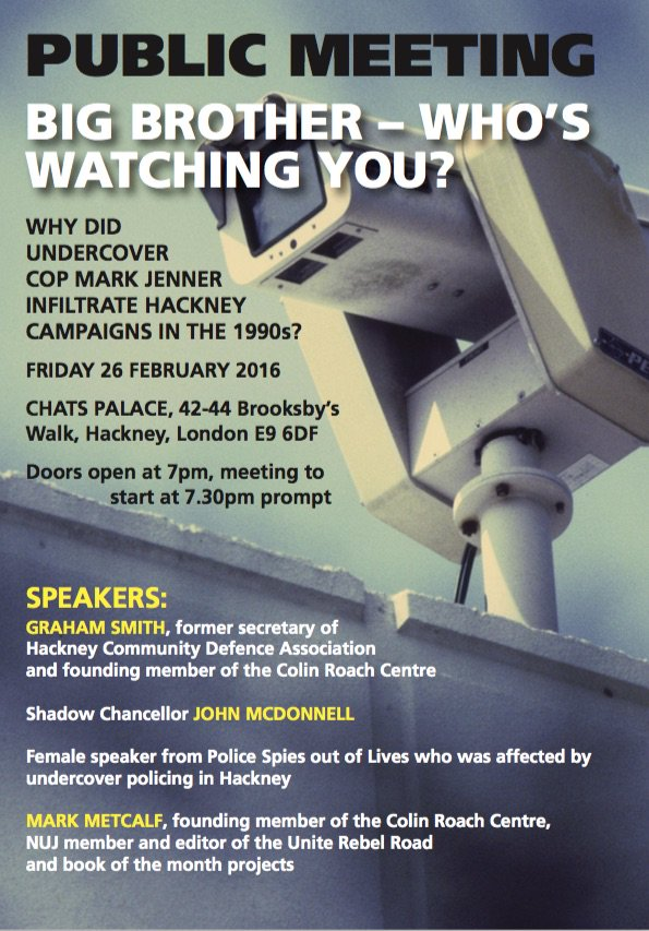 Public Meetings this week re #spycops – Trade Unions and Hackney